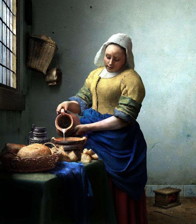 خادمة مع إبريق من الحليب   جان فيرمير