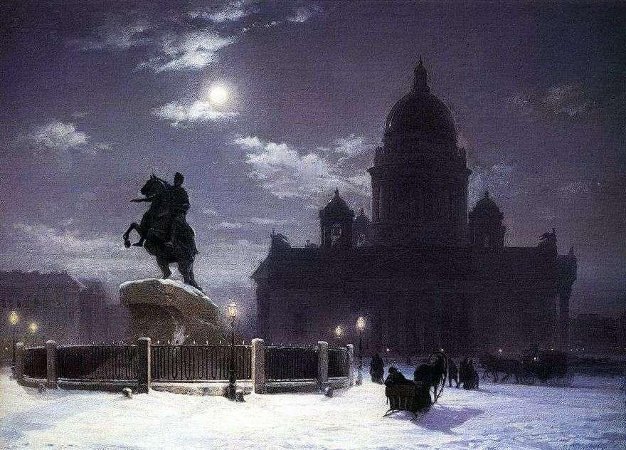 منظر لنصب بطرس الأول في سانت بطرسبرغ   فاسيلي سوريكوف