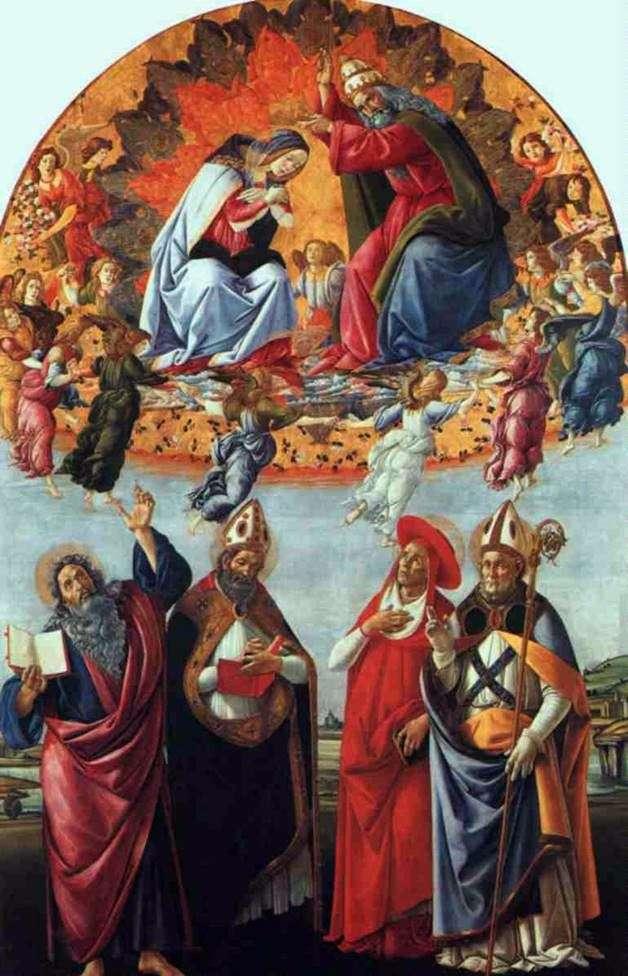مذبح سان ماركو ، أو تتويج مريم مع الملائكة ، جون المبشر والقديسين أوغسطين ، جيروم وهيليغيوس   ساندرو بوتيتشيلي