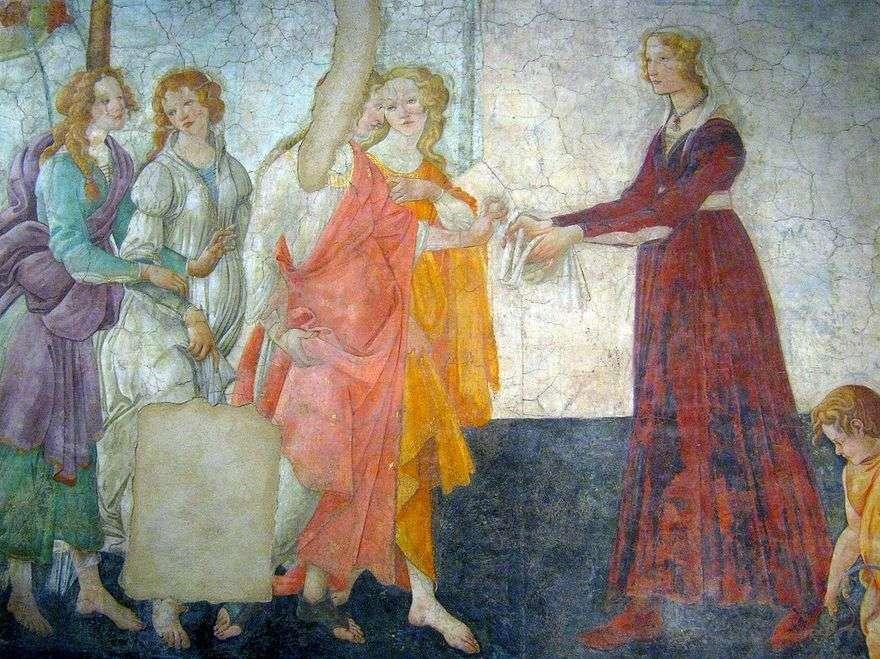 فينوس والنعمة الثلاثة تقدمان هدايا لفتاة   ساندرو بوتيتشيلي