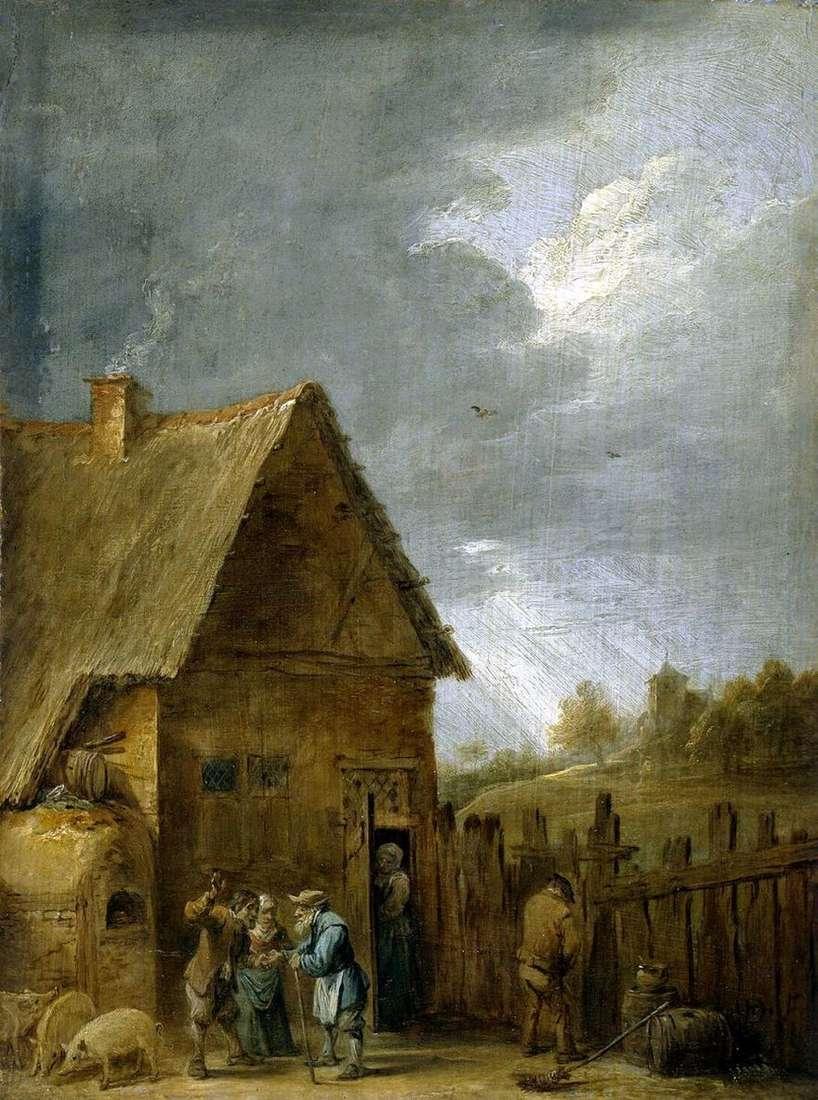 فناء منزل فلاح   David Teniers