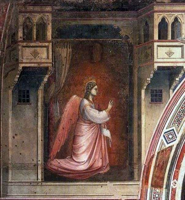 شخصية رئيس الملائكة غابرييل مع لوحة جدارية البشارة   جيوتو