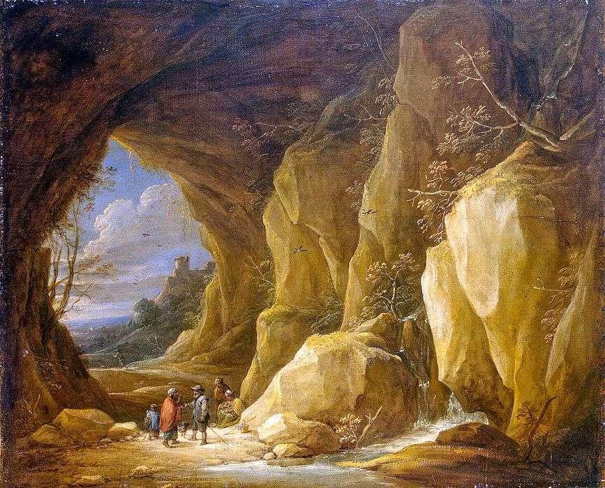 منظر طبيعي مع مغارة ومجموعة من الغجر   David Teniers