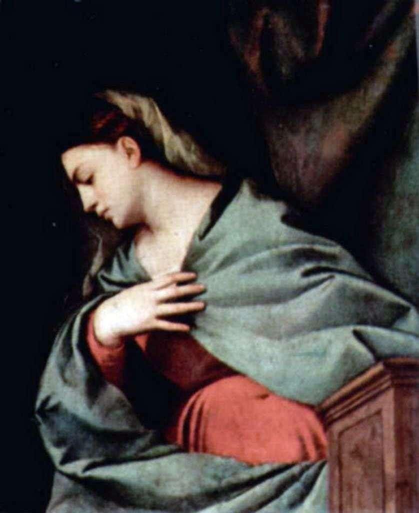 قيامة المسيح (Averoldi Altar Polyptych) ، الجناح الأيمن ، المشهد أعلاه. مريم العذراء   تيتيان فيسيليو