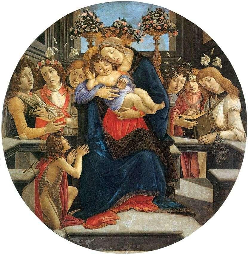 مادونا والطفل ، الملائكة والقديس يوحنا المعمدان   ساندرو بوتيتشيلي