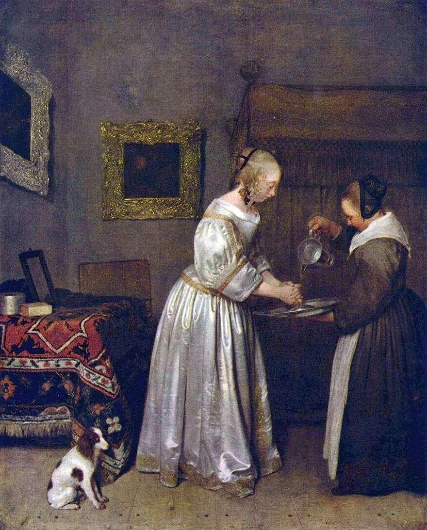 امرأة غسل اليدين   جيرارد Terborch