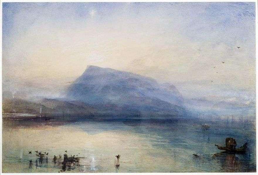 جبل ريغا: منظر لبحيرة لوسيرن عند شروق الشمس   ويليام تيرنر