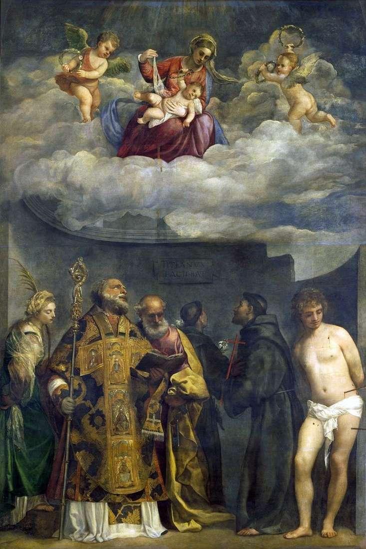 مادونا والطفل مع القديسين   تيتيان Vecellio