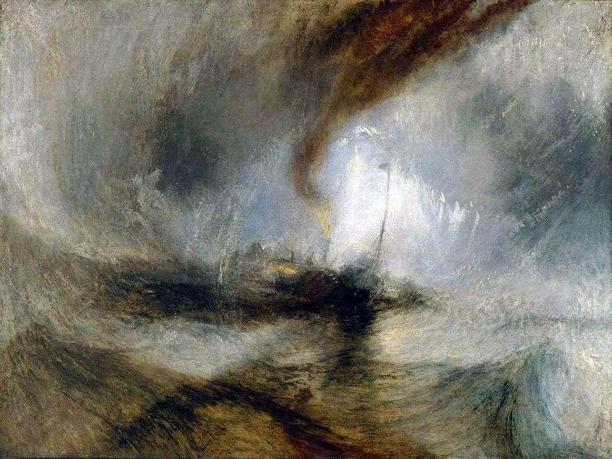 عاصفة ثلجية. Steamboat يخرج من الميناء ويعطي إشارة استغاثة ، وضرب المياه الضحلة   وليام تيرنر