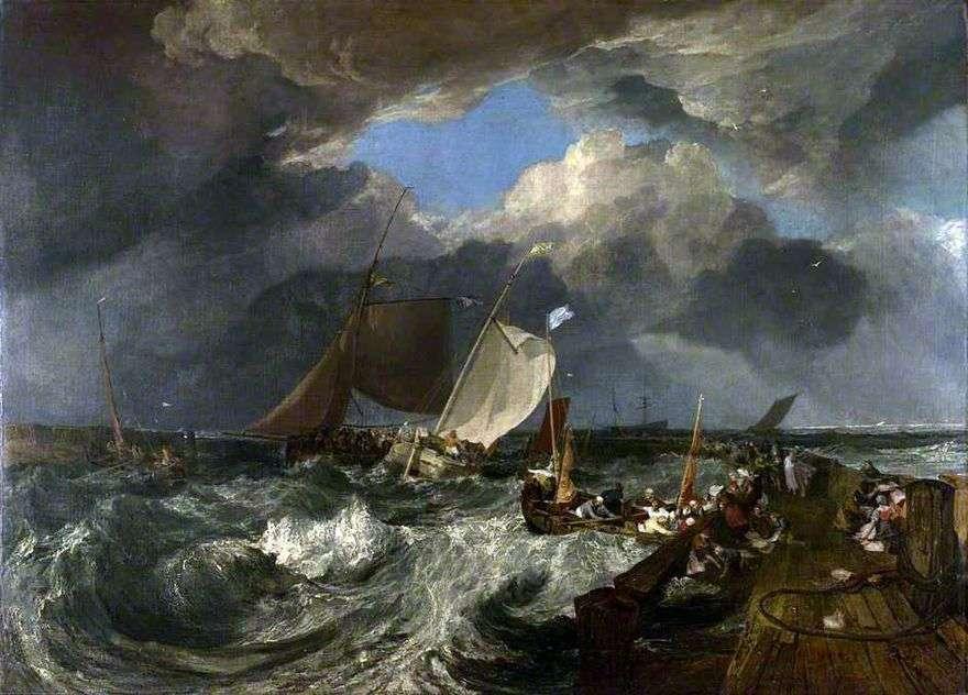 رصيف في كاليه. صيادون فرنسيون يذهبون إلى البحر ويصلون سفينة ركاب إنجليزية   وليام تيرنر
