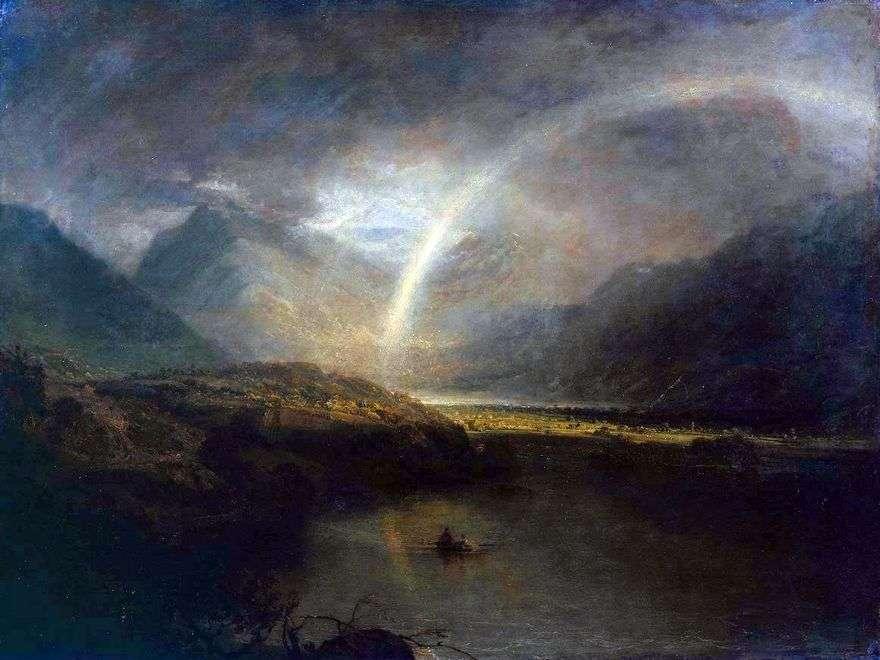 بحيرة Buttermere ، مع قوس قزح والمطر   وليام تيرنر