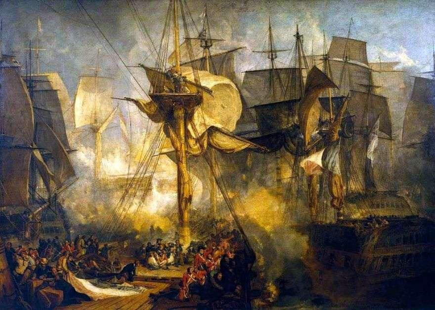 معركة الطرف الأغر ، منظر من حصى الصاري المزيني على الجانب الأيمن من سفينة فيكتوريا   William Turner
