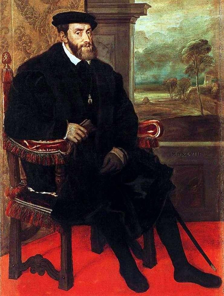 صورة تشارلز الخامس على الكرسي   تيتيان فيشليو