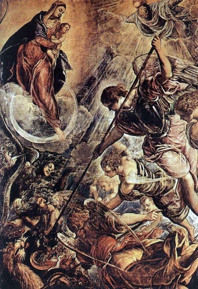 معركة رئيس الملائكة ميخائيل مع الشيطان (الطابق الثاني من القرن السادس عشر)   جاكوبو تينتوريتو