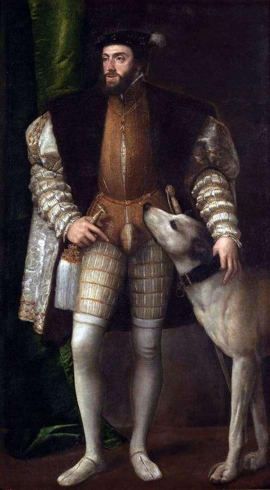 صورة تشارلز الخامس مع كلب   تيتيان فيشيليو