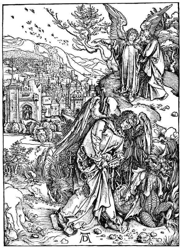 الملاك مع مفتاح الجحيم. نقش   ألبريشت دورر