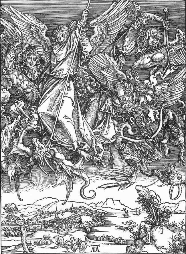 معركة رئيس الملائكة ميخائيل مع التنين   ألبريشت دورر