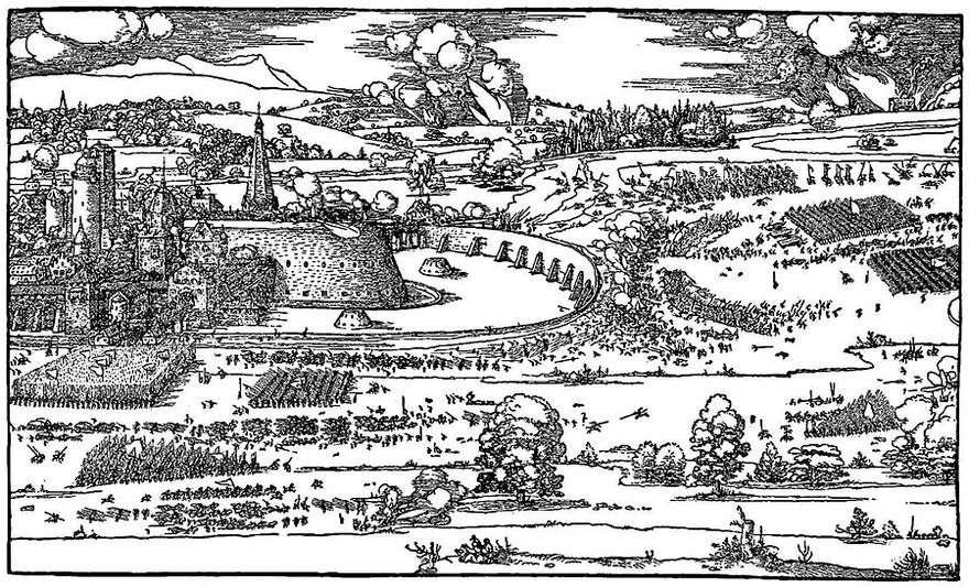 رسم توضيحي من أطروحة دليل القياس باستخدام بوصلة وحاكم   Albrecht Dürer