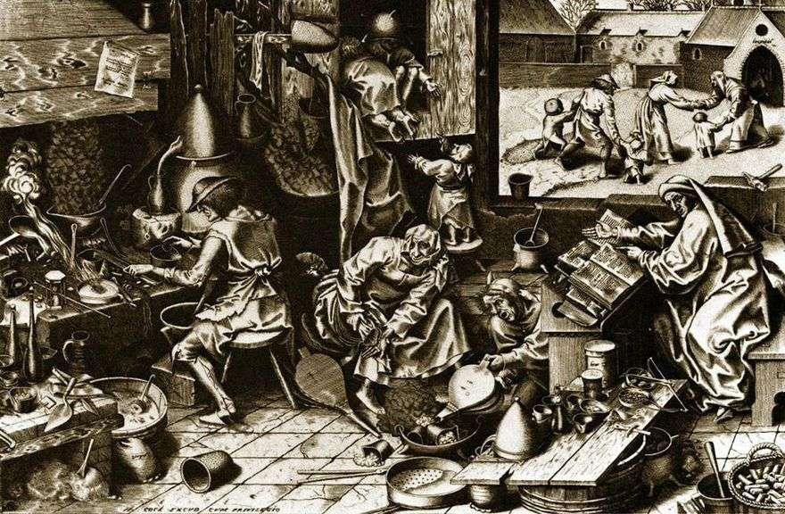 الخيميائي. النقش   بيتر Bruegel