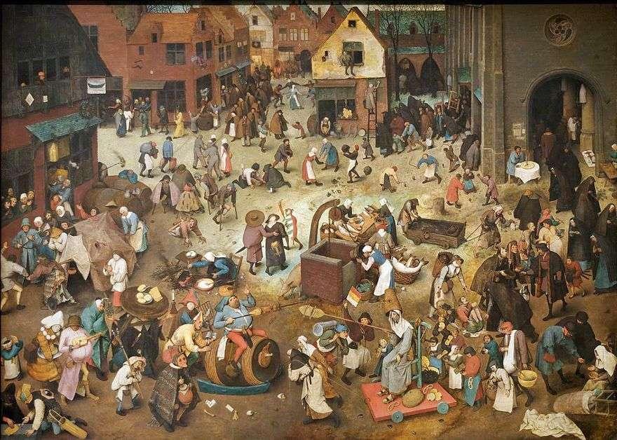 معركة Maslenitsa والصوم   بيتر Bruegel