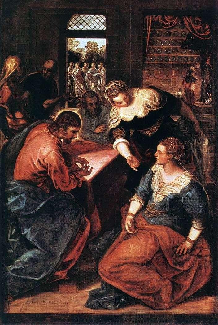 المسيح في منزل مارثا وماري   يعقوب تينتوريتو