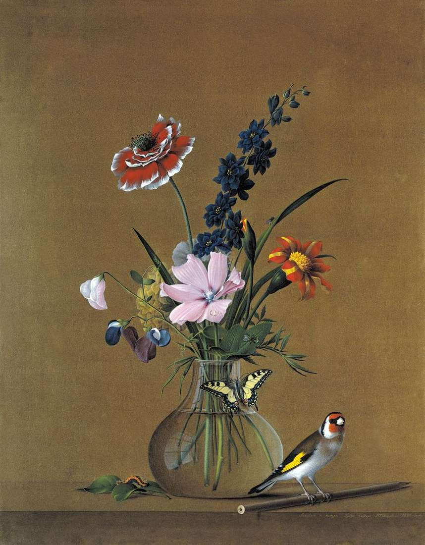 باقة من الزهور ، فراشة وطيور   فيدور تولستوي