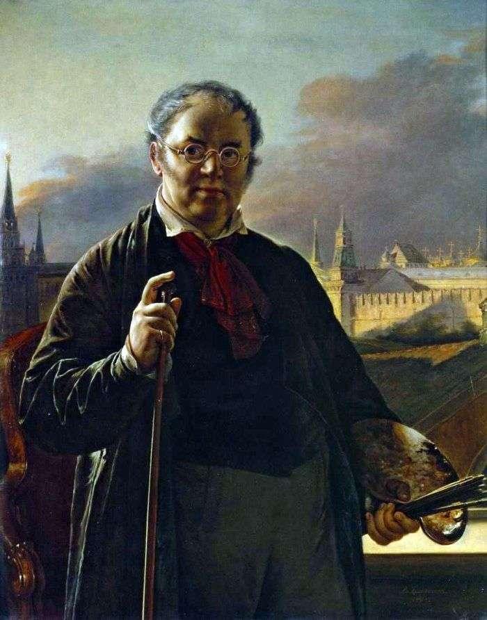 صورة ذاتية مع فرش على خلفية الكرملين في موسكو   فاسيلي تروبينين