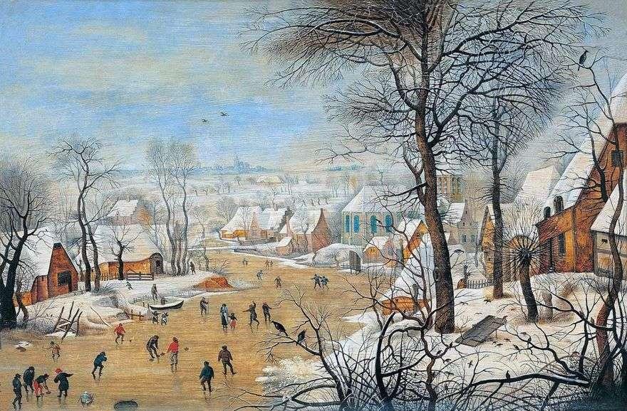 منظر طبيعي مع المتزلجين ومصيدة للطيور   Pieter Bruegel