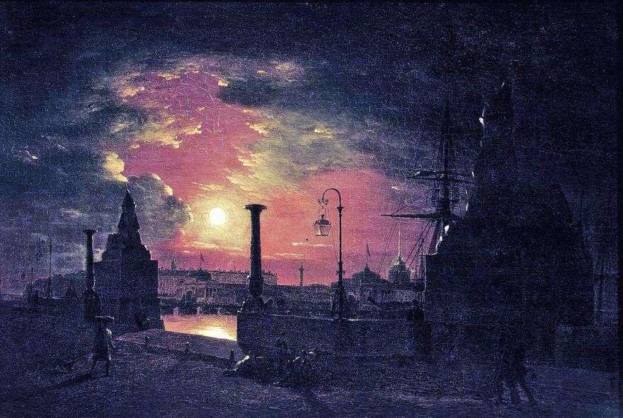 ليلة الخريف في بطرسبرغ. رصيف بأبو الهول المصري على نهر نيفا في الليل   مكسيم فوروبييف