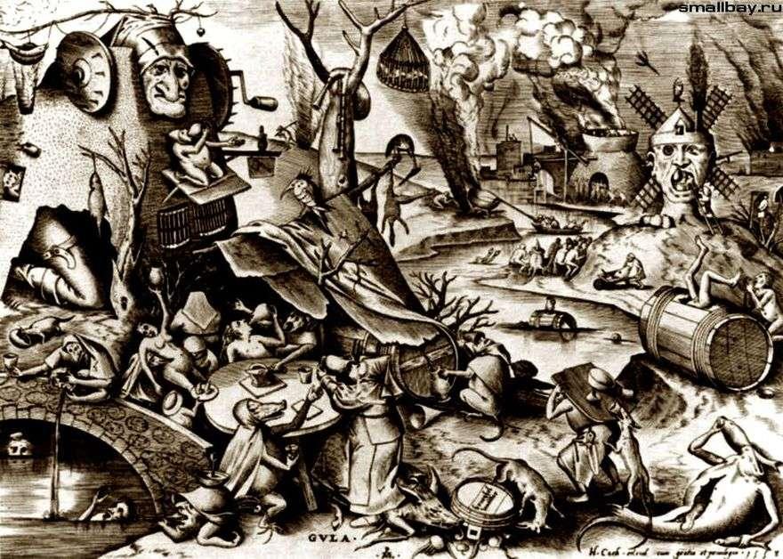 الشراهة. النقش   بيتر Bruegel