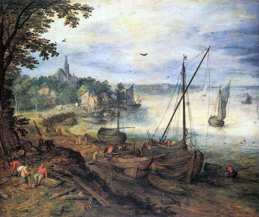 نهر المناظر الطبيعية مع الحطاب   يان Bruegel